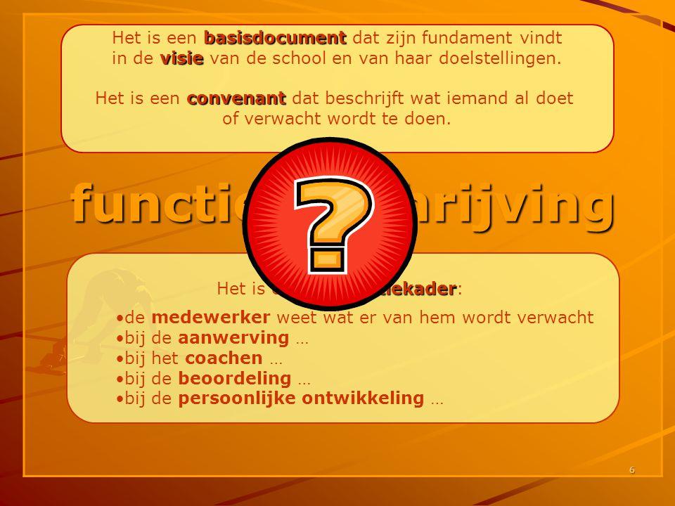 6 functiebeschrijving basisdocument Het is een basisdocument dat zijn fundament vindt visie in de visie van de school en van haar doelstellingen. conv