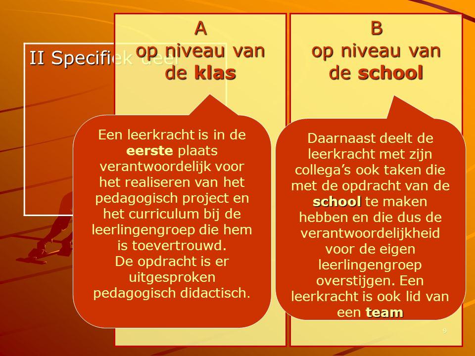 9 II Specifiek deel A op niveau van de klas B op niveau van de school Een leerkracht is in de eerste plaats verantwoordelijk voor het realiseren van h