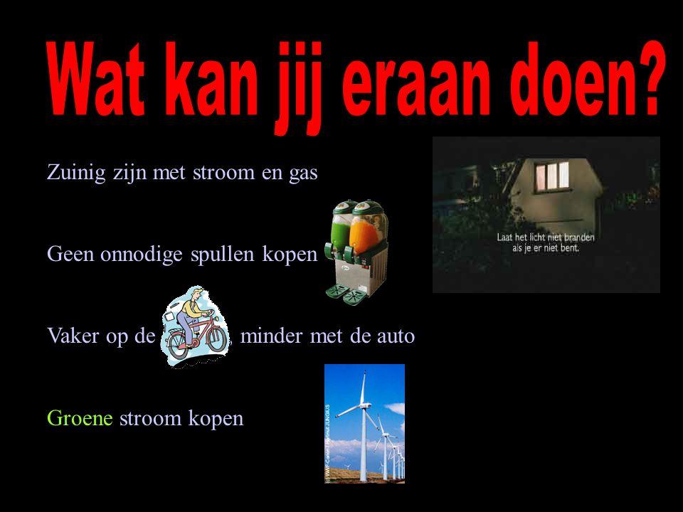 Zuinig zijn met stroom en gas Geen onnodige spullen kopen Vaker op de fiets, minder met de auto Groene stroom kopen