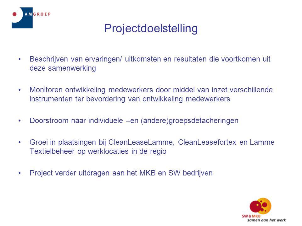 Projectdoelstelling •Beschrijven van ervaringen/ uitkomsten en resultaten die voortkomen uit deze samenwerking •Monitoren ontwikkeling medewerkers doo