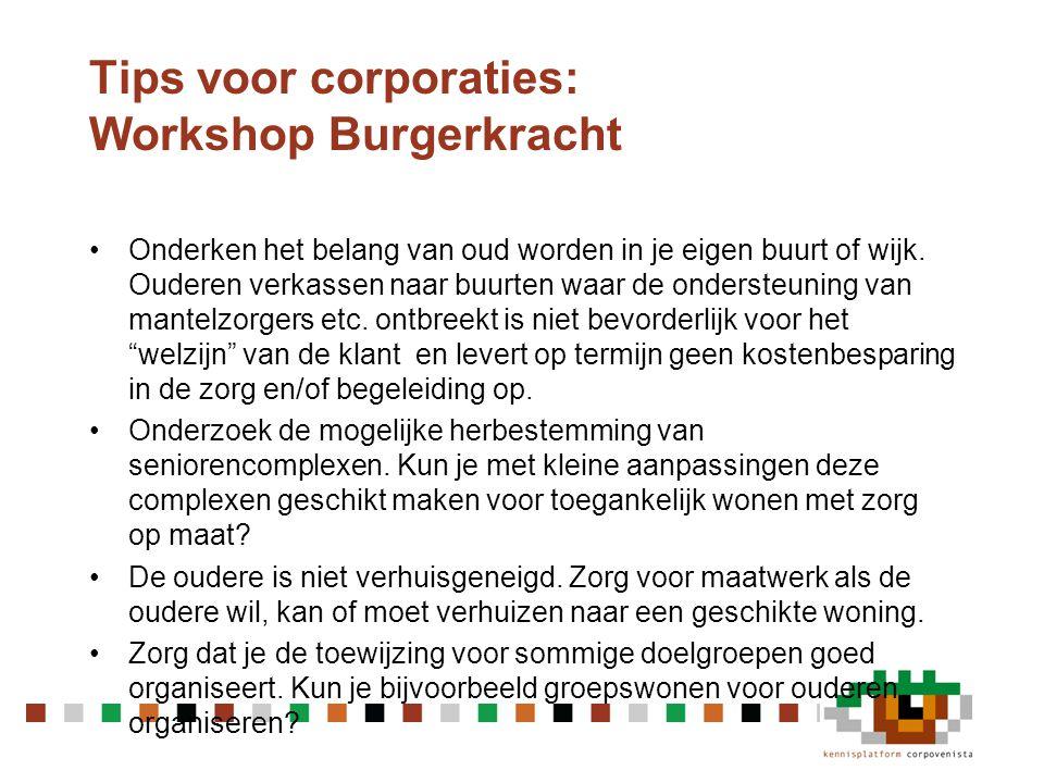 Tips voor corporaties: Workshop Burgerkracht •Zijn leegstaande kantoorpanden en bedrijfsruimtes een oplossing.