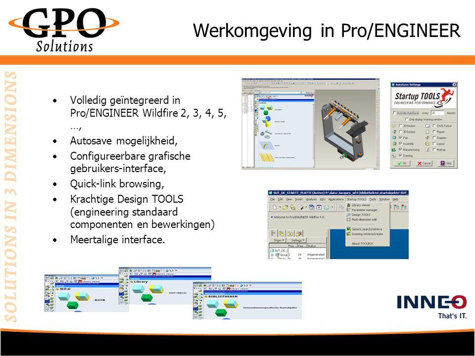 Grafische Bibliotheek •Standaard collectie van DIN onderdelen, •Eigen onderdelenbibliotheek te integreren, •Zoekfunctie met ondersteuning van Windchill, •Grafisch representatie van de onderdelen, •Eenvoudige Tab-browsing, •Familie-tabel ondersteuning.