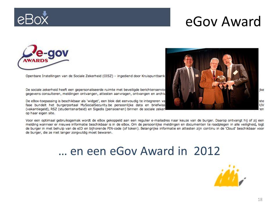 eGov Award … en een eGov Award in 2012 18