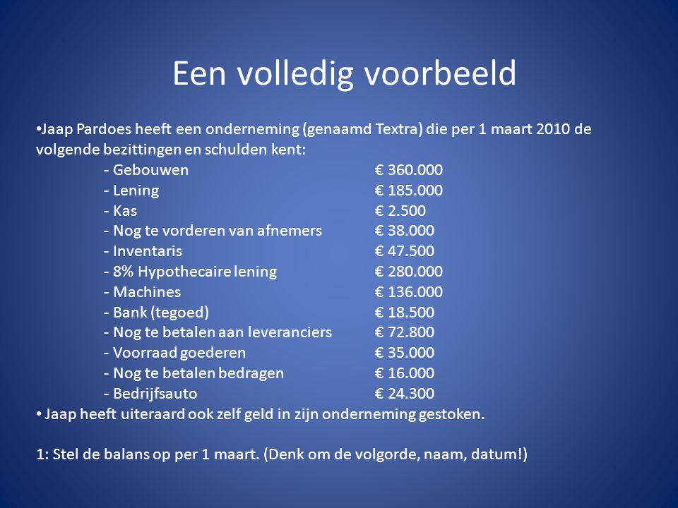Een volledig voorbeeld • Jaap Pardoes heeft een onderneming (genaamd Textra) die per 1 maart 2010 de volgende bezittingen en schulden kent: - Gebouwen
