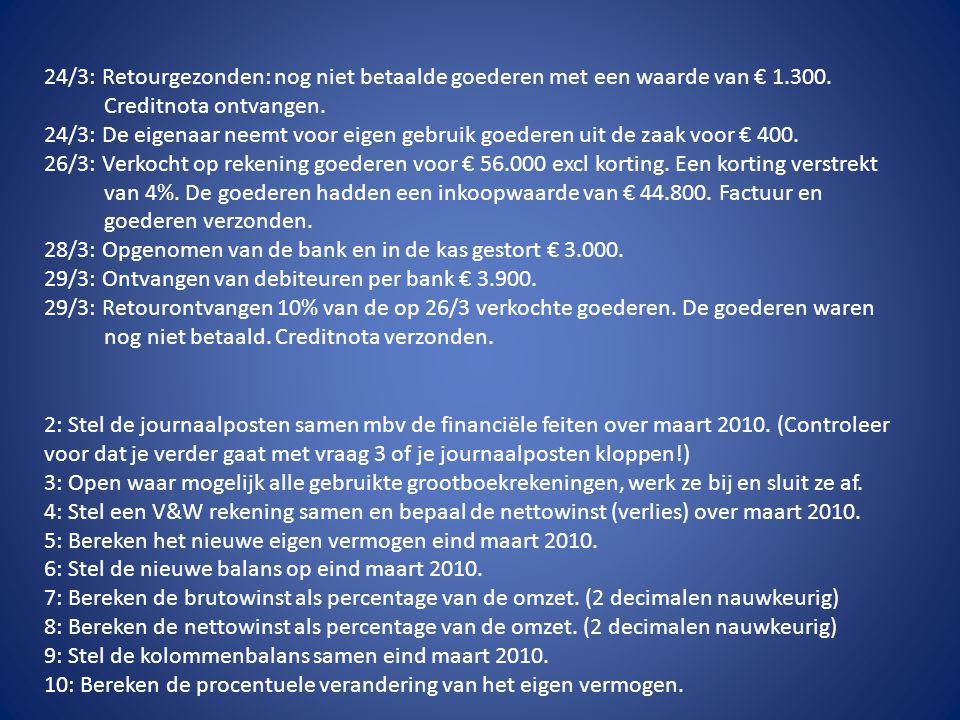24/3: Retourgezonden: nog niet betaalde goederen met een waarde van € 1.300. Creditnota ontvangen. 24/3: De eigenaar neemt voor eigen gebruik goederen