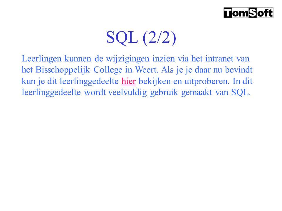 """SQL (1/2) SQL is een database """"vraag""""-taal. Het is echter niet alleen mogelijk om vragen aan een database te maken; je kunt ook schrijfopdrachten aan"""