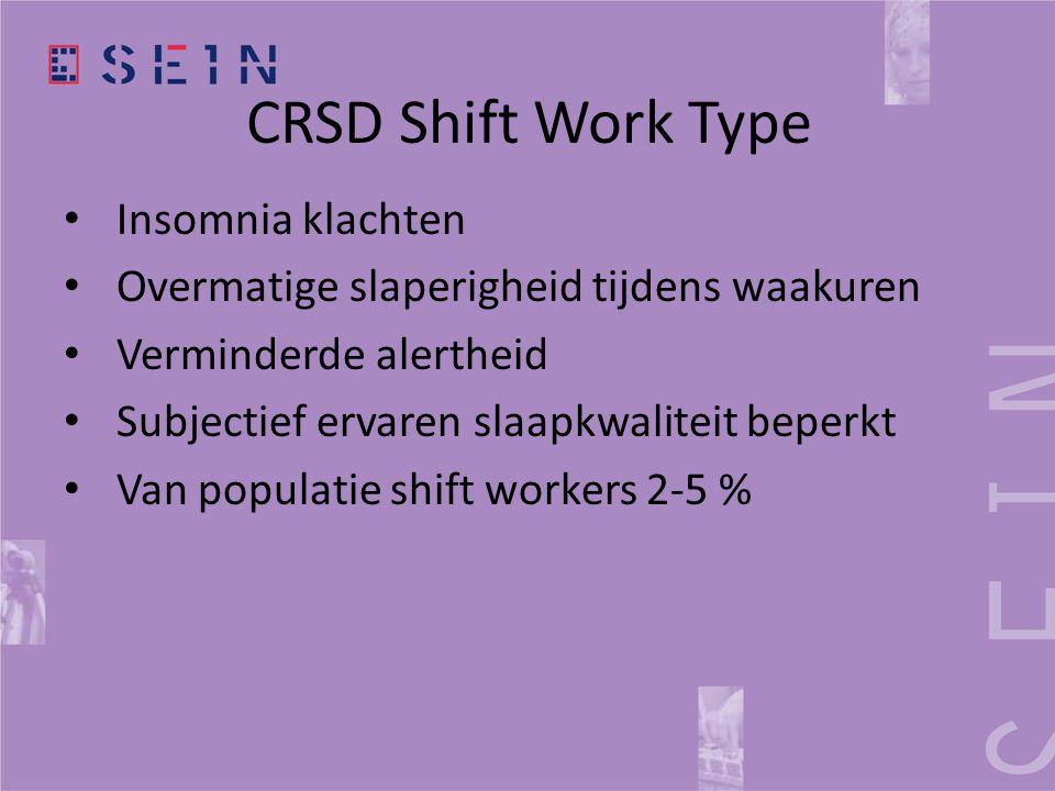 CRSD Shift Work Type • Insomnia klachten • Overmatige slaperigheid tijdens waakuren • Verminderde alertheid • Subjectief ervaren slaapkwaliteit beperk
