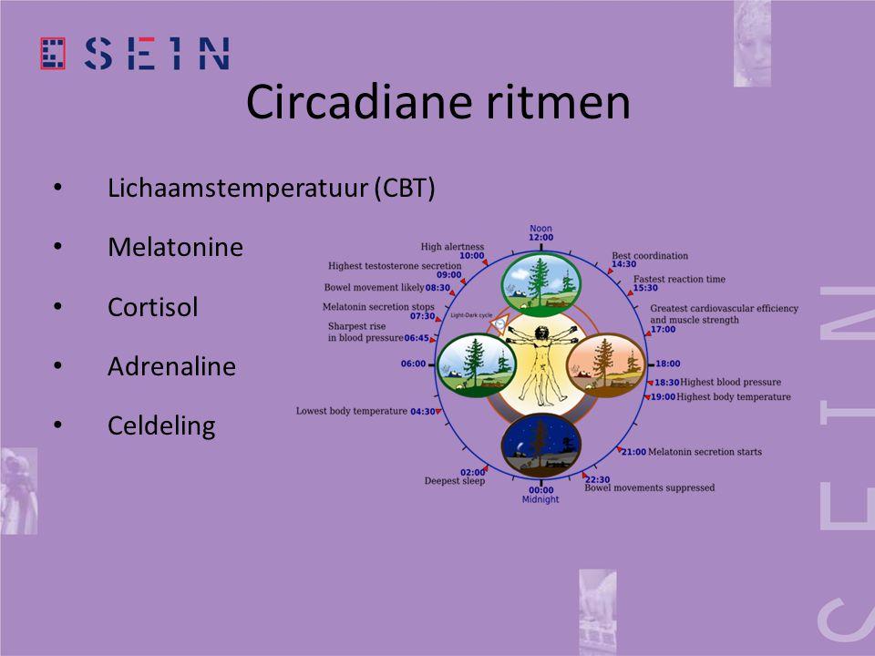 Circadiane ritmen • Lichaamstemperatuur (CBT) • Melatonine • Cortisol • Adrenaline • Celdeling