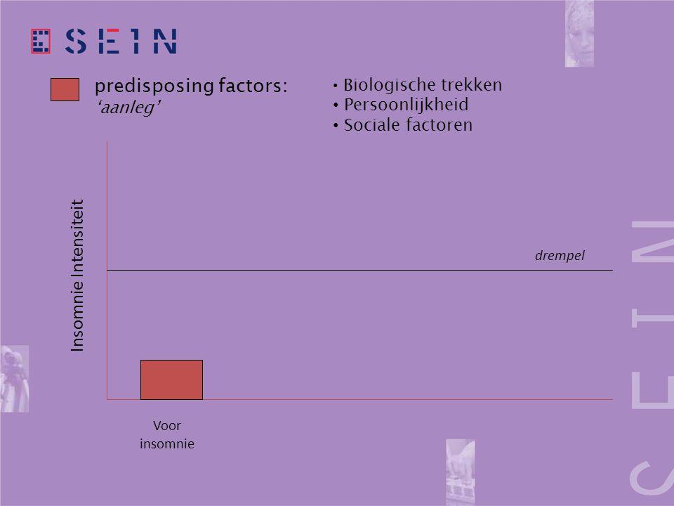 predisposing factors: 'aanleg' drempel Voor insomnie Insomnie Intensiteit • Biologische trekken • Persoonlijkheid • Sociale factoren