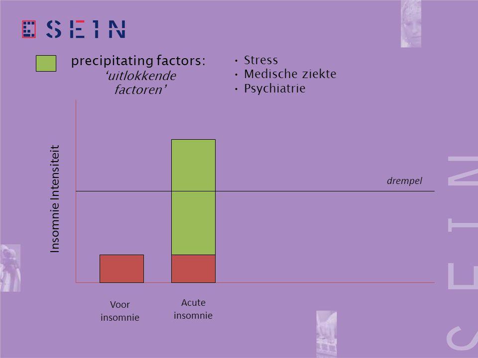 precipitating factors: 'uitlokkende factoren' drempel Voor insomnie Acute insomnie Insomnie Intensiteit • Stress • Medische ziekte • Psychiatrie