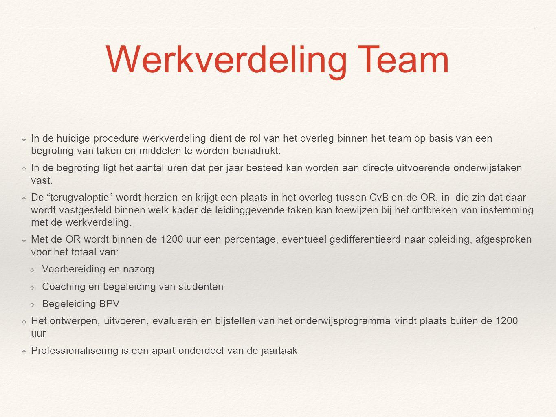 Werkverdeling Team ❖ In de huidige procedure werkverdeling dient de rol van het overleg binnen het team op basis van een begroting van taken en middel