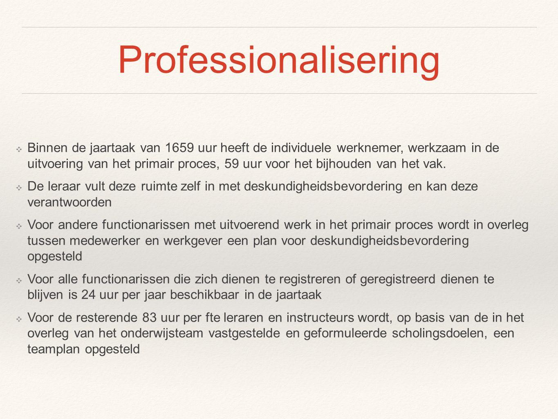 Professionalisering ❖ Binnen de jaartaak van 1659 uur heeft de individuele werknemer, werkzaam in de uitvoering van het primair proces, 59 uur voor he
