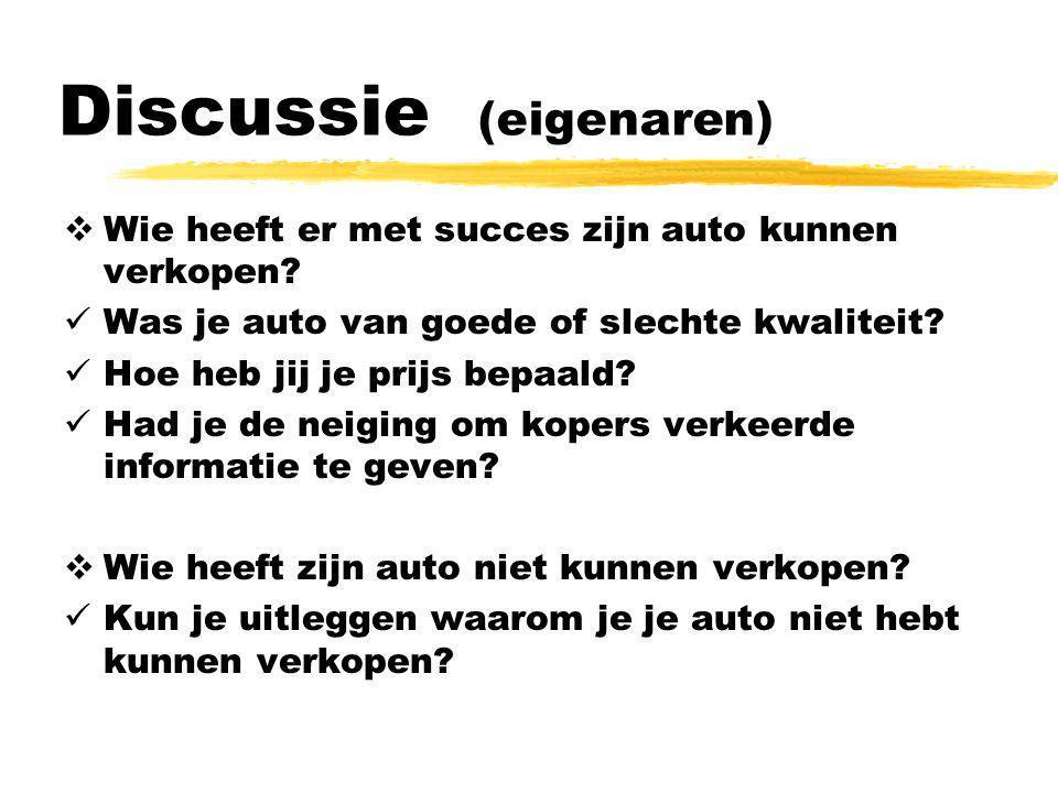 Discussie (eigenaren)  Wie heeft er met succes zijn auto kunnen verkopen?  Was je auto van goede of slechte kwaliteit?  Hoe heb jij je prijs bepaal