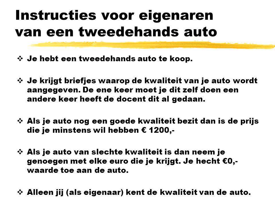 Instructies voor eigenaren van een tweedehands auto  Je hebt een tweedehands auto te koop.  Je krijgt briefjes waarop de kwaliteit van je auto wordt