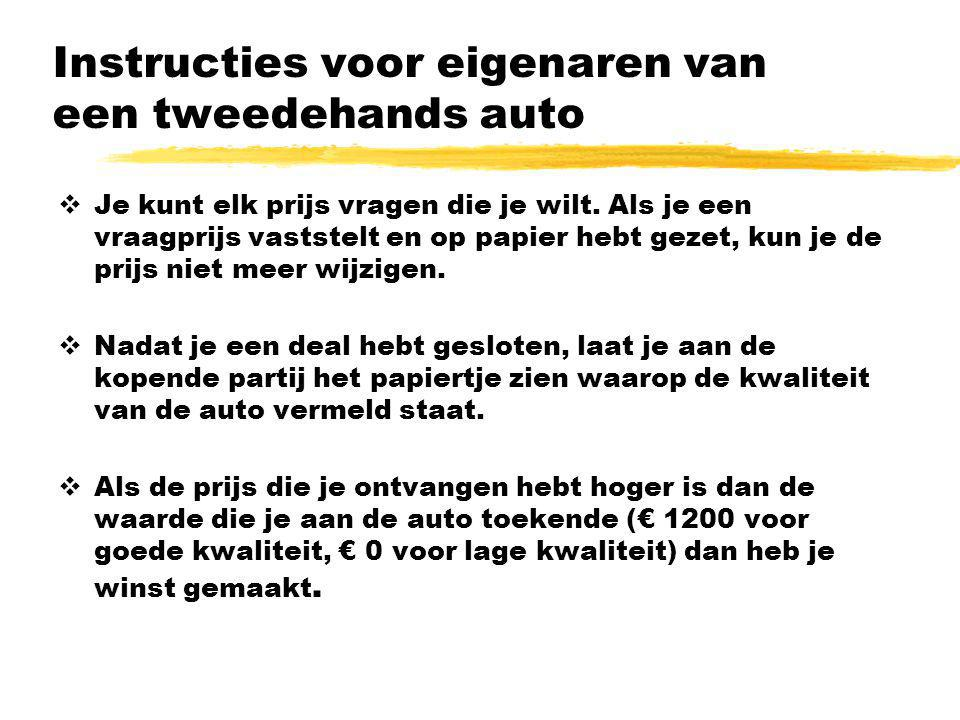 Instructies voor eigenaren van een tweedehands auto  Je kunt elk prijs vragen die je wilt. Als je een vraagprijs vaststelt en op papier hebt gezet, k