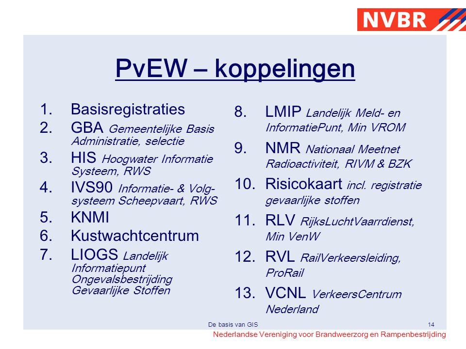 Nederlandse Vereniging voor Brandweerzorg en Rampenbestrijding De basis van GIS14 PvEW – koppelingen 1.Basisregistraties 2.GBA Gemeentelijke Basis Adm