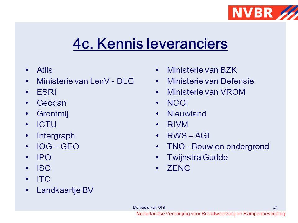Nederlandse Vereniging voor Brandweerzorg en Rampenbestrijding De basis van GIS21 4c. Kennis leveranciers •Atlis •Ministerie van LenV - DLG •ESRI •Geo