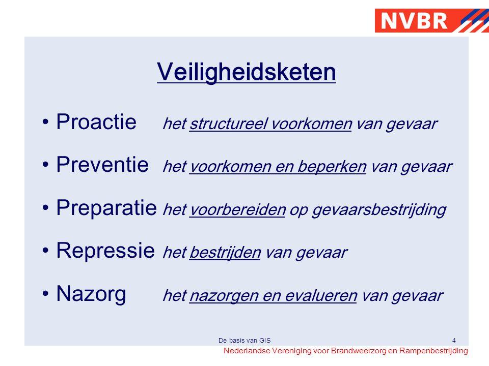 Nederlandse Vereniging voor Brandweerzorg en Rampenbestrijding De basis van GIS4 Veiligheidsketen •Proactie het structureel voorkomen van gevaar •Prev