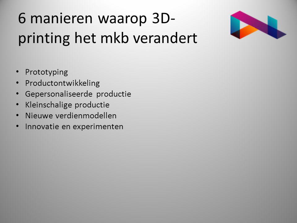 6 manieren waarop 3D- printing het mkb verandert • Prototyping • Productontwikkeling • Gepersonaliseerde productie • Kleinschalige productie • Nieuwe