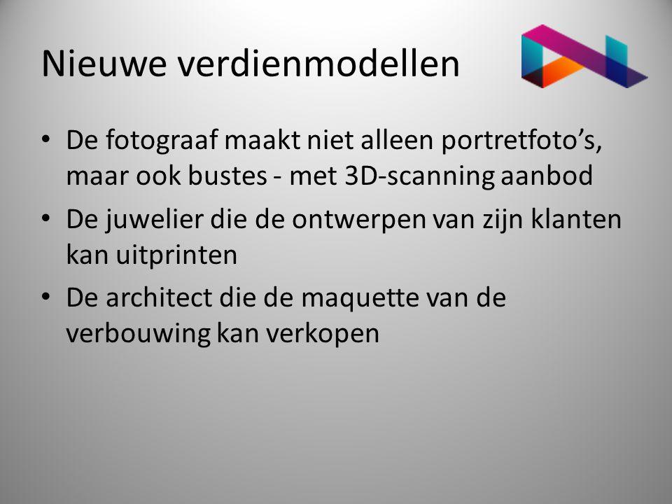Nieuwe verdienmodellen • De fotograaf maakt niet alleen portretfoto's, maar ook bustes - met 3D-scanning aanbod • De juwelier die de ontwerpen van zij