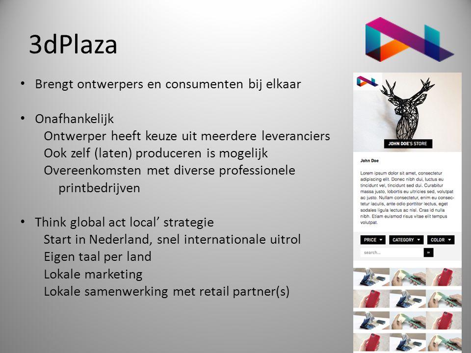 3dPlaza • Brengt ontwerpers en consumenten bij elkaar • Onafhankelijk Ontwerper heeft keuze uit meerdere leveranciers Ook zelf (laten) produceren is m