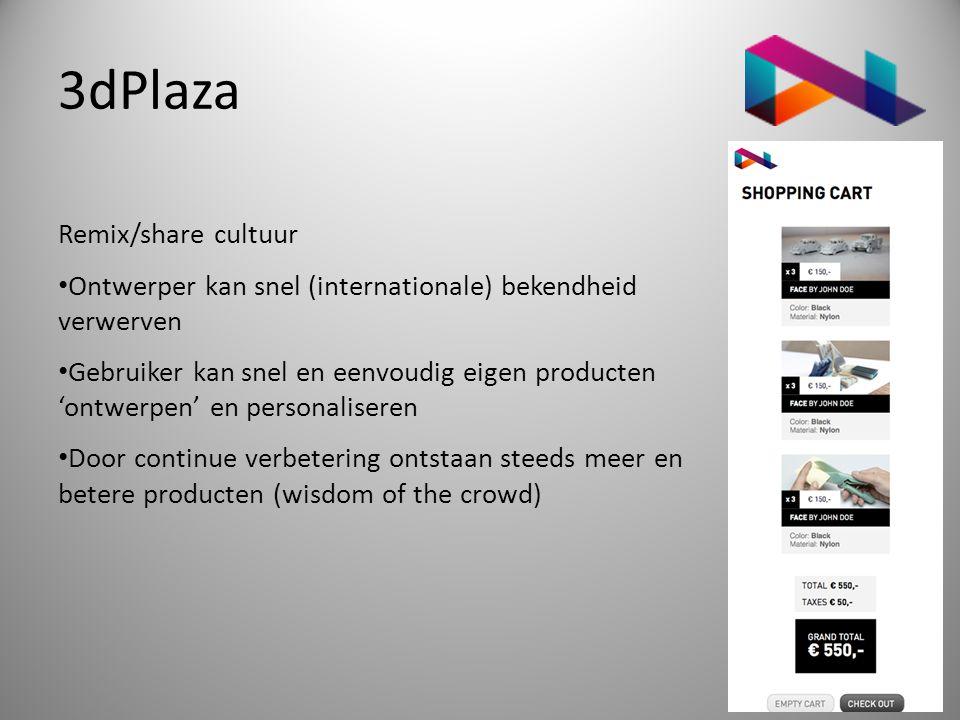 3dPlaza Remix/share cultuur • Ontwerper kan snel (internationale) bekendheid verwerven • Gebruiker kan snel en eenvoudig eigen producten 'ontwerpen' e