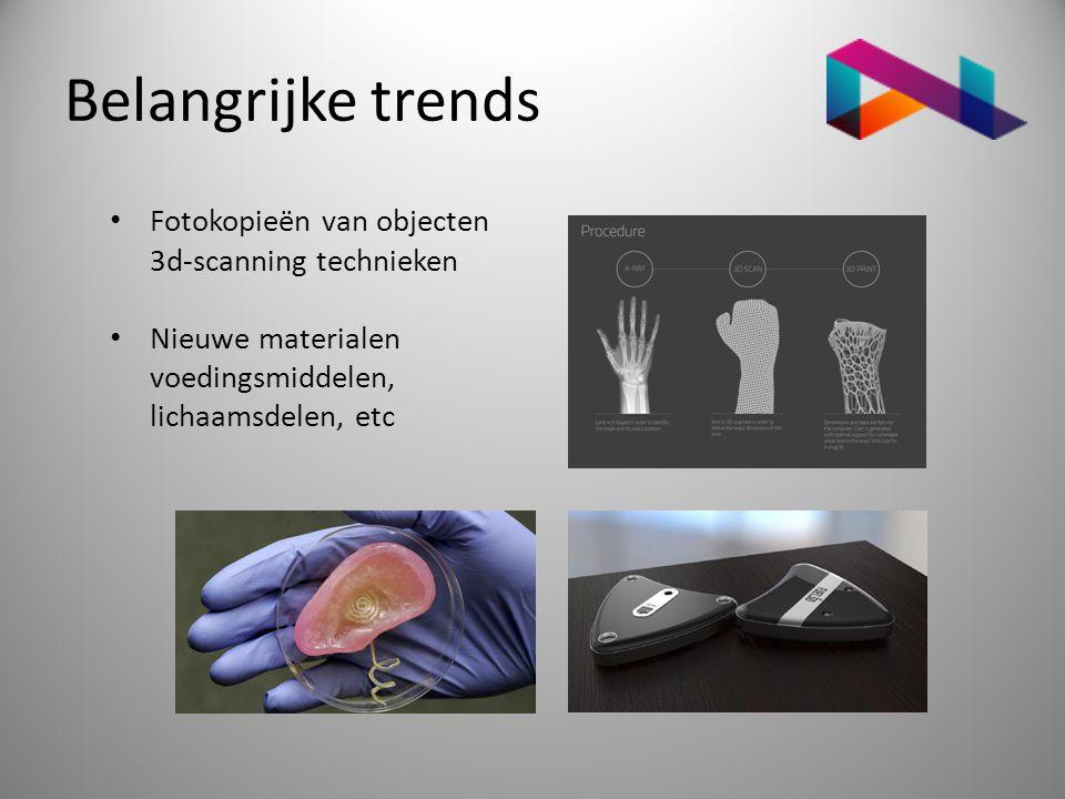 Belangrijke trends • Fotokopieën van objecten 3d-scanning technieken • Nieuwe materialen voedingsmiddelen, lichaamsdelen, etc