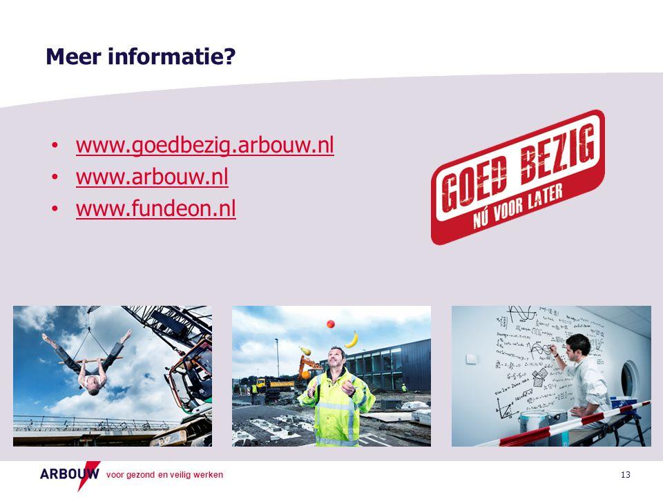 voor gezond en veilig werken 13 Meer informatie.