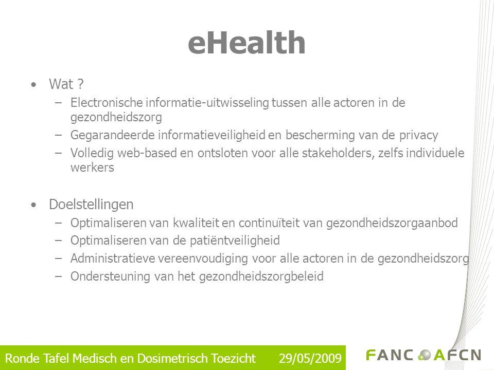 eHealth •Wat ? –Electronische informatie-uitwisseling tussen alle actoren in de gezondheidszorg –Gegarandeerde informatieveiligheid en bescherming van