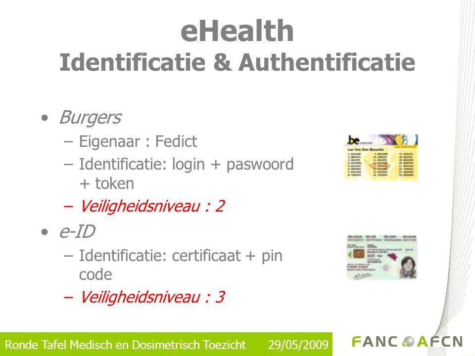 Ronde Tafel Medisch en Dosimetrisch Toezicht 29/05/2009 eHealth Identificatie & Authentificatie •Burgers –Eigenaar : Fedict –Identificatie: login + pa