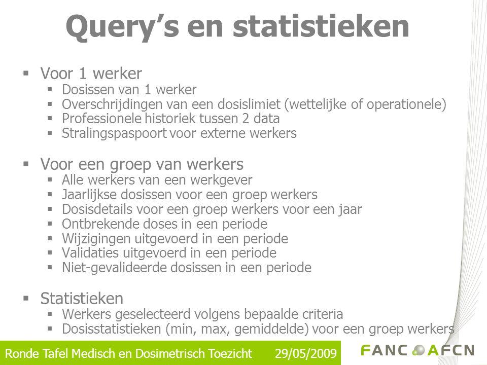  Voor 1 werker  Dosissen van 1 werker  Overschrijdingen van een dosislimiet (wettelijke of operationele)  Professionele historiek tussen 2 data 