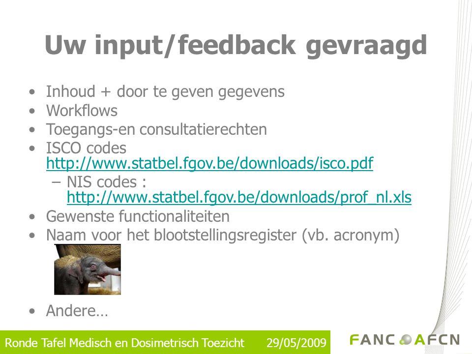 Ronde Tafel Medisch en Dosimetrisch Toezicht 29/05/2009 Uw input/feedback gevraagd •Inhoud + door te geven gegevens •Workflows •Toegangs-en consultati