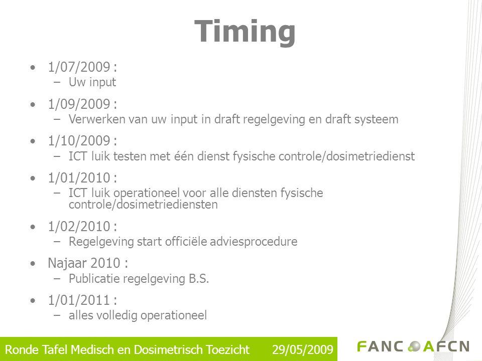 Ronde Tafel Medisch en Dosimetrisch Toezicht 29/05/2009 Timing •1/07/2009 : –Uw input •1/09/2009 : –Verwerken van uw input in draft regelgeving en dra