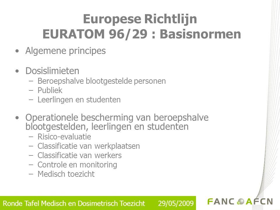 Ronde Tafel Medisch en Dosimetrisch Toezicht 29/05/2009 Europese Richtlijn EURATOM 96/29 : Basisnormen •Algemene principes •Dosislimieten –Beroepshalv