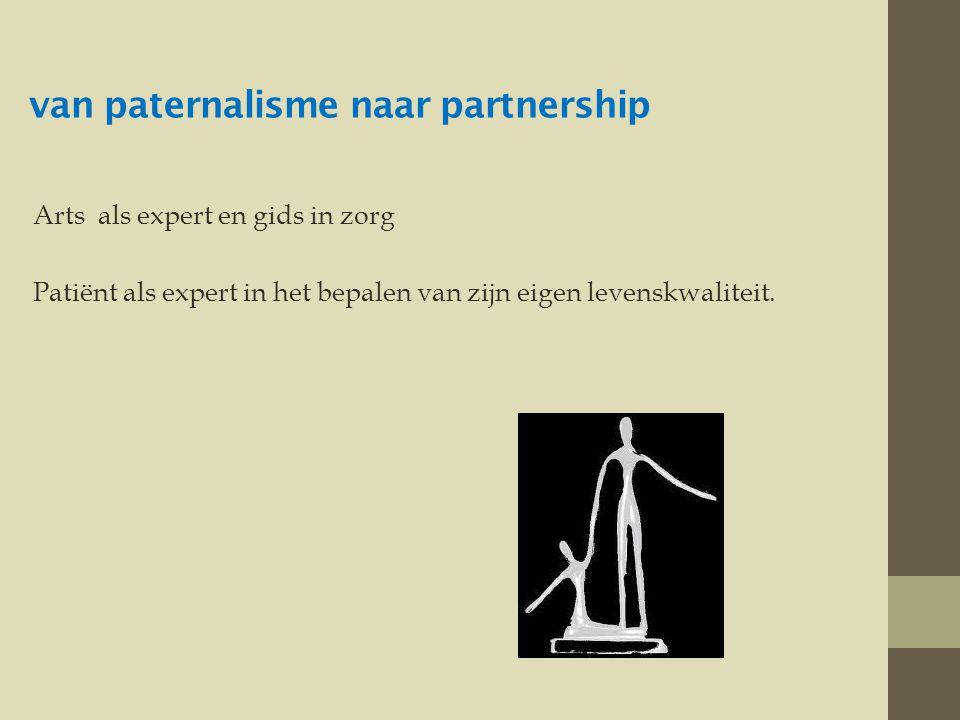 van paternalisme naar partnership Arts als expert en gids in zorg Patiënt als expert in het bepalen van zijn eigen levenskwaliteit.