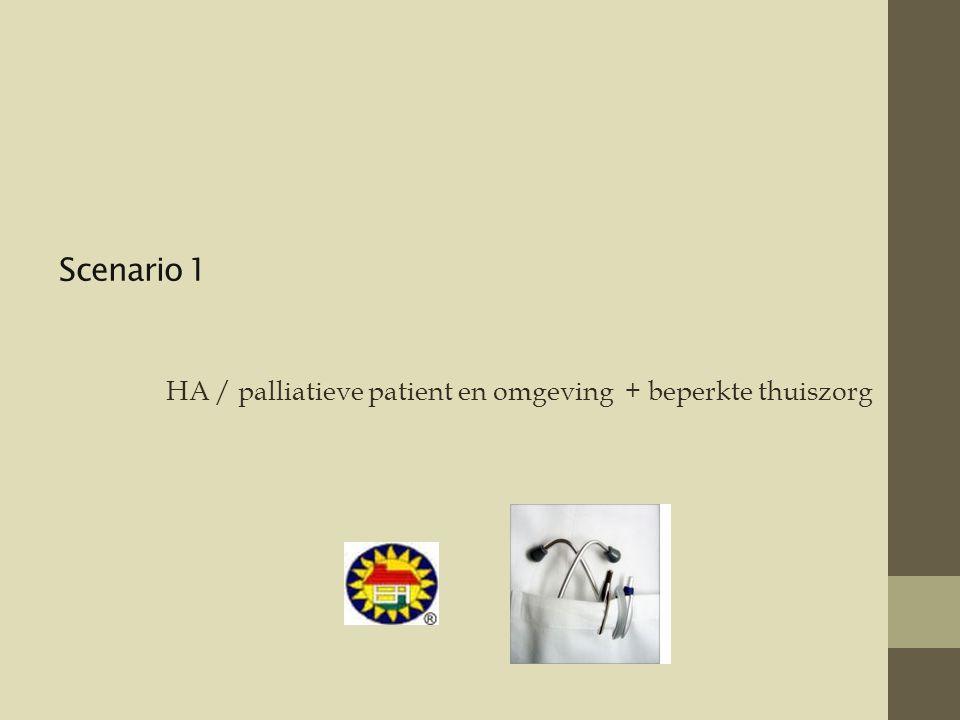 Scenario 1 HA / palliatieve patient en omgeving + beperkte thuiszorg