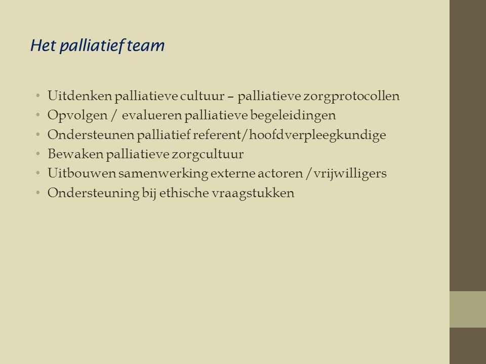 Het palliatief team • Uitdenken palliatieve cultuur – palliatieve zorgprotocollen • Opvolgen / evalueren palliatieve begeleidingen • Ondersteunen palliatief referent/hoofdverpleegkundige • Bewaken palliatieve zorgcultuur • Uitbouwen samenwerking externe actoren /vrijwilligers • Ondersteuning bij ethische vraagstukken