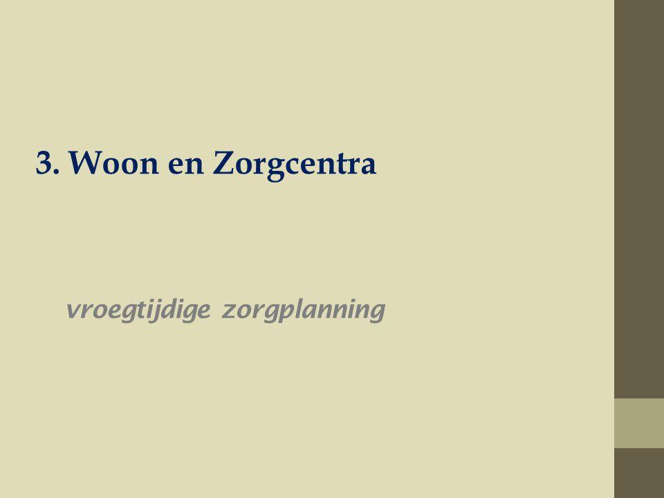 vroegtijdige zorgplanning 3. Woon en Zorgcentra
