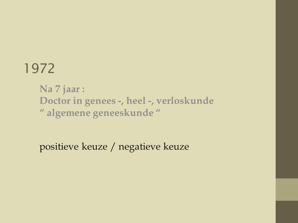 1972 Na 7 jaar : Doctor in genees -, heel -, verloskunde algemene geneeskunde positieve keuze / negatieve keuze