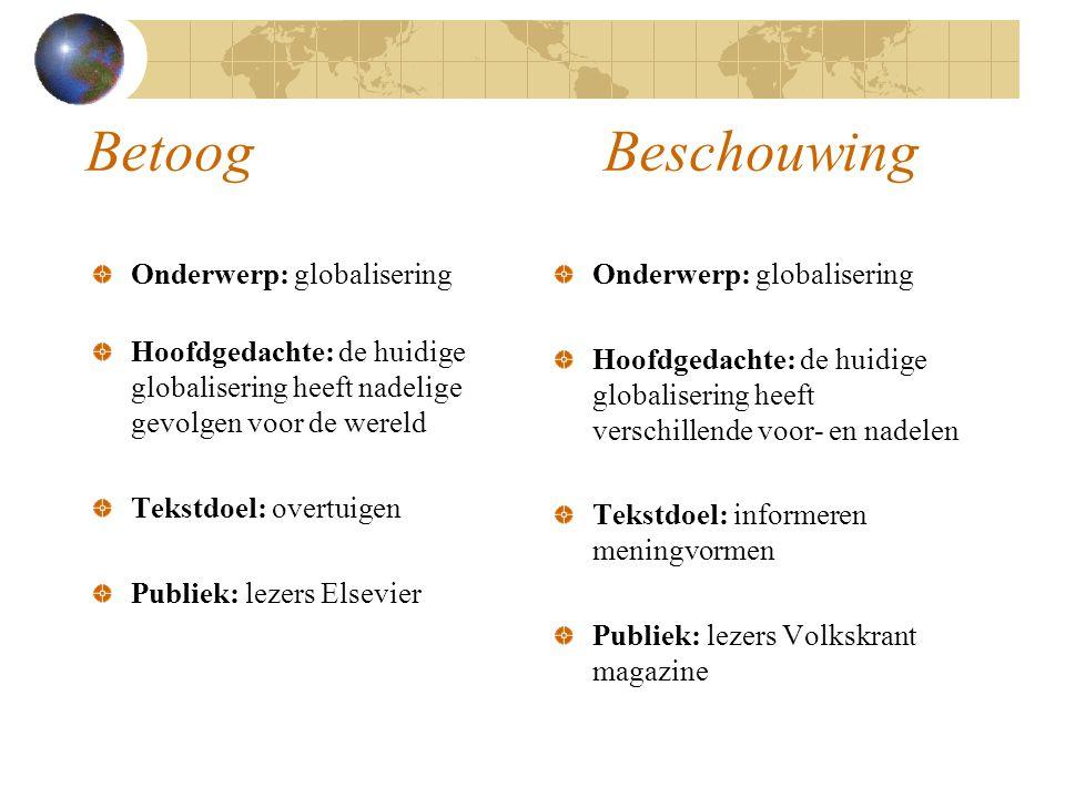 Betoog Beschouwing Onderwerp: globalisering Hoofdgedachte: de huidige globalisering heeft nadelige gevolgen voor de wereld Tekstdoel: overtuigen Publi