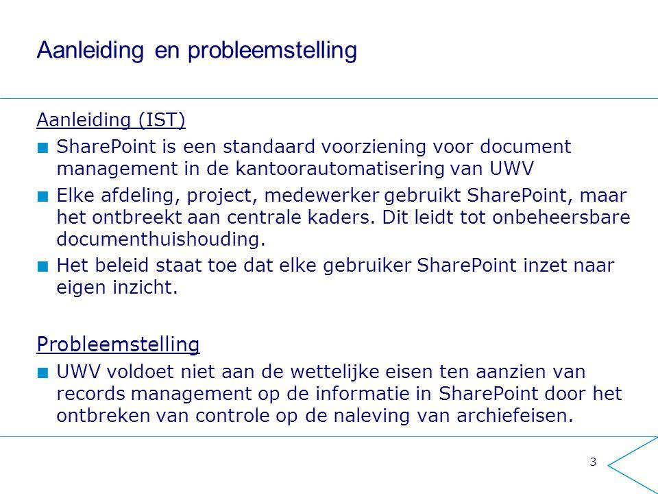 Aanleiding en probleemstelling Aanleiding (IST) SharePoint is een standaard voorziening voor document management in de kantoorautomatisering van UWV E