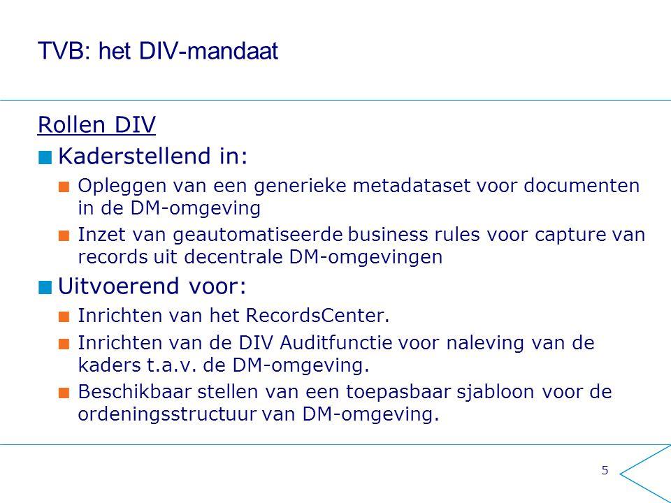 TVB: het DIV-mandaat Rollen DIV Kaderstellend in: Opleggen van een generieke metadataset voor documenten in de DM-omgeving Inzet van geautomatiseerde
