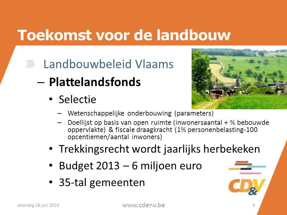 Toekomst voor de landbouw Landbouwbeleid Vlaams – Plattelandsfonds • Selectie – Wetenschappelijke onderbouwing (parameters) – Doellijst op basis van o