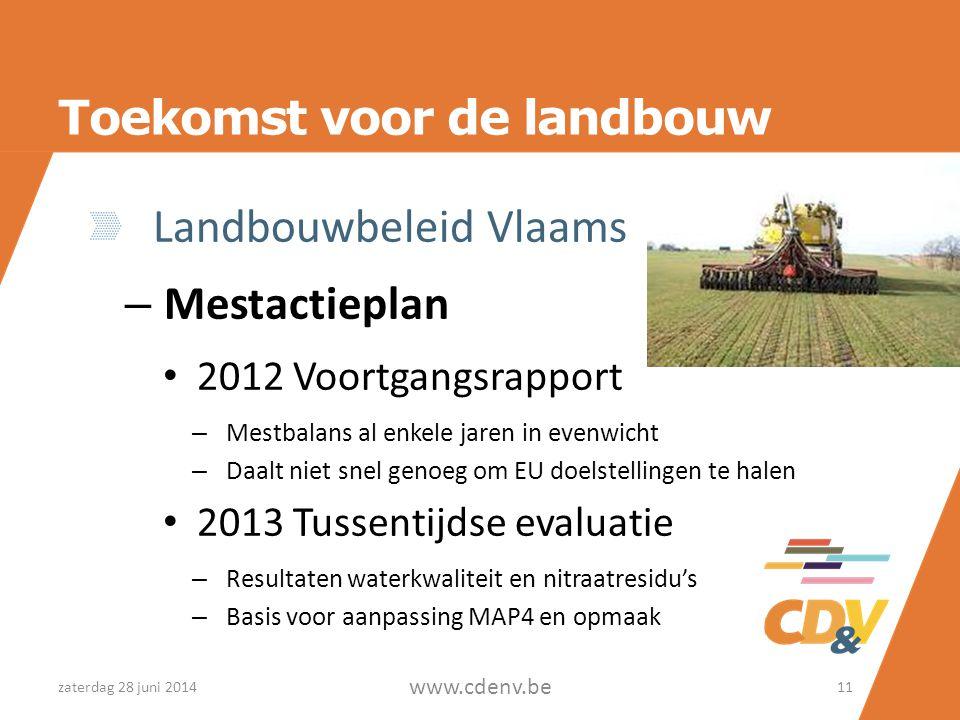 Toekomst voor de landbouw Landbouwbeleid Vlaams – Mestactieplan • 2012 Voortgangsrapport – Mestbalans al enkele jaren in evenwicht – Daalt niet snel g