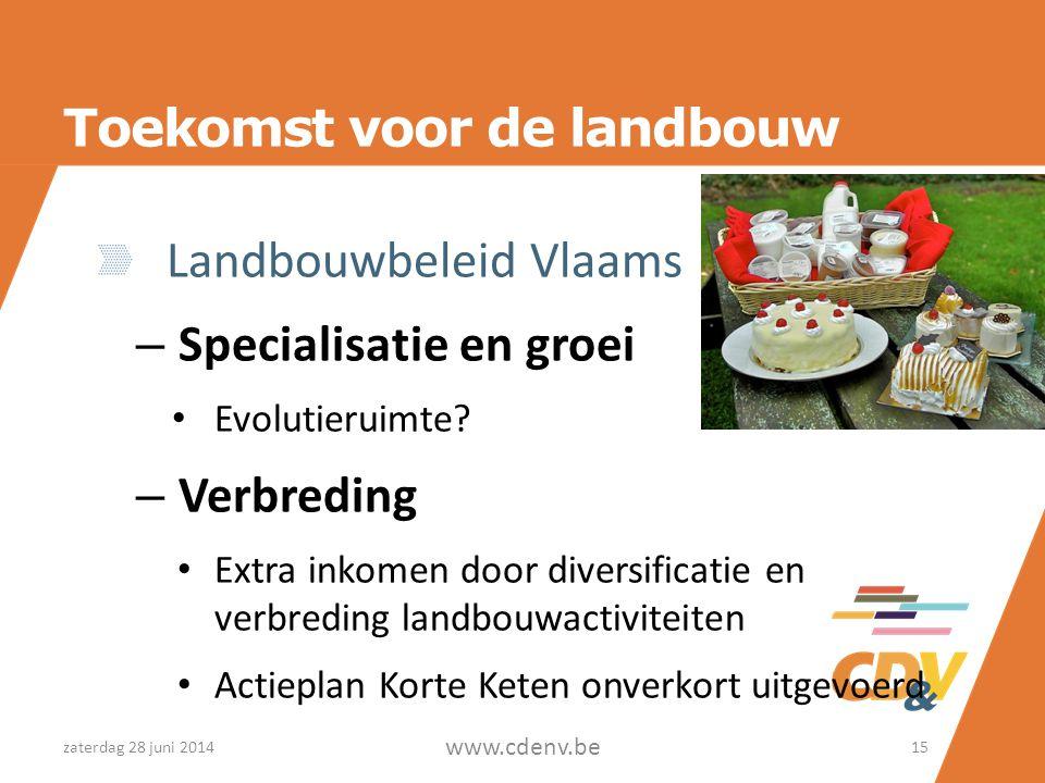 Toekomst voor de landbouw Landbouwbeleid Vlaams – Specialisatie en groei • Evolutieruimte.
