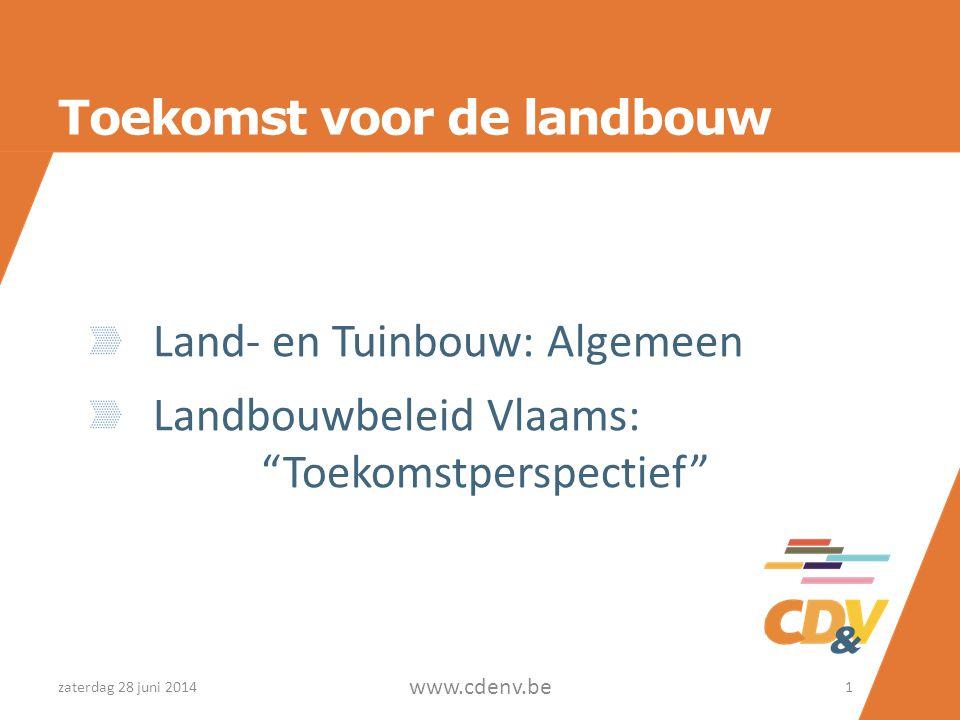Toekomst voor de landbouw Land- en Tuinbouw: Algemeen Landbouwbeleid Vlaams: Toekomstperspectief zaterdag 28 juni 20141 www.cdenv.be