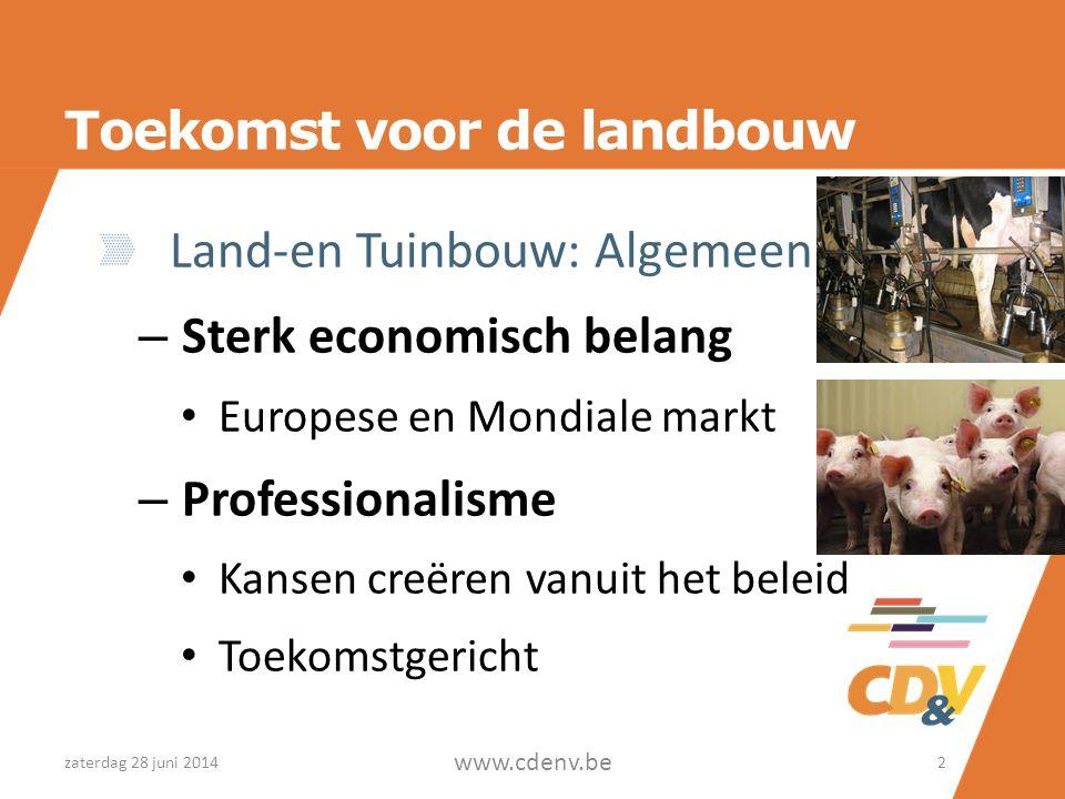 Toekomst voor de landbouw Land-en Tuinbouw: Algemeen – Sterk economisch belang • Europese en Mondiale markt – Professionalisme • Kansen creëren vanuit