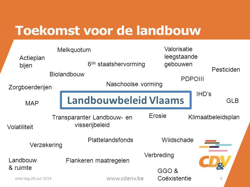 Toekomst voor de landbouw Landbouwbeleid Vlaams zaterdag 28 juni 2014 www.cdenv.be 4 GLB Verbreding Landbouw & ruimte Volatiliteit Verzekering Flanker