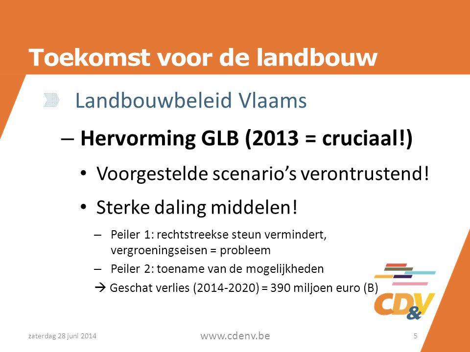 Toekomst voor de landbouw Landbouwbeleid Vlaams – Hervorming GLB (2013 = cruciaal!) • Voorgestelde scenario's verontrustend! • Sterke daling middelen!
