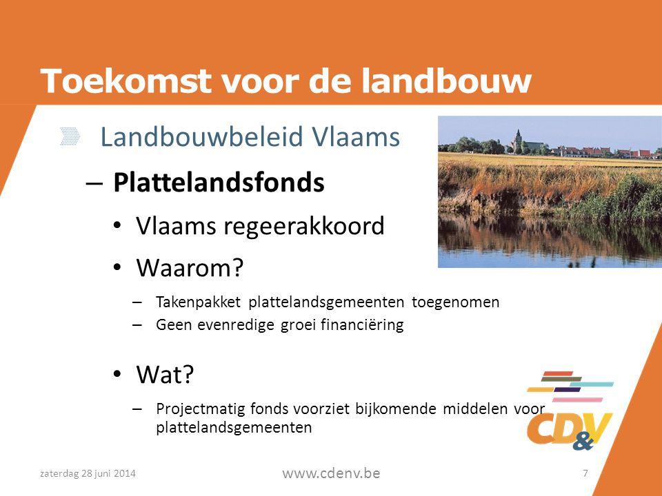 Toekomst voor de landbouw Landbouwbeleid Vlaams – Plattelandsfonds • Vlaams regeerakkoord • Waarom? – Takenpakket plattelandsgemeenten toegenomen – Ge